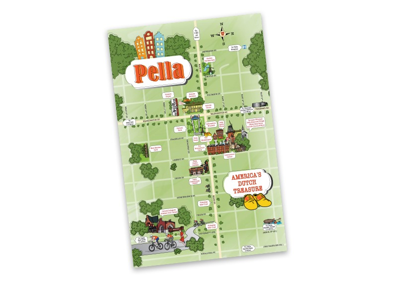 Pella Downtown Caricature Map